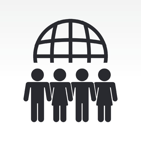 Vector illustration of modern icon depicting a global people meeting Illustration