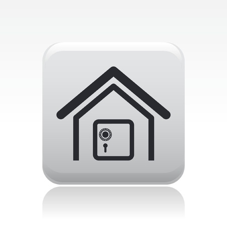 insure: Vector illustration of modern single icon depicting a strongbox in a house