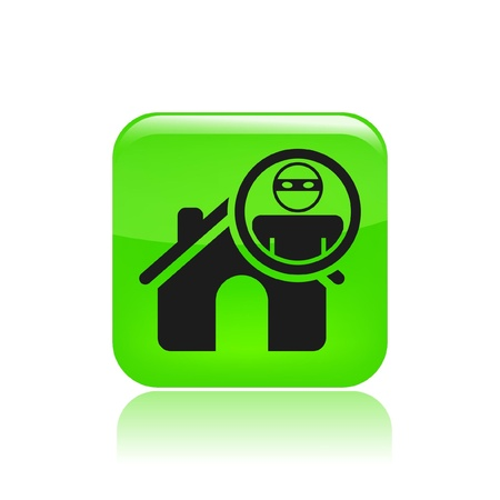 mugging: Vector illustration of thief apartments icon