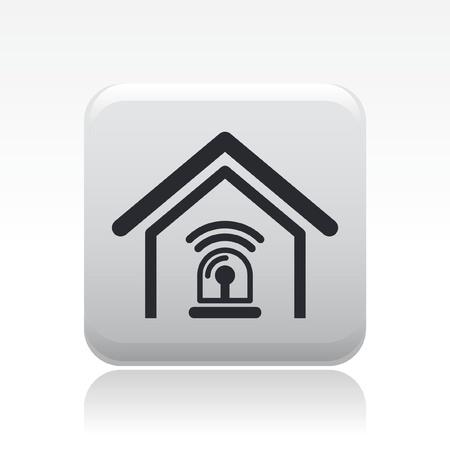 alarme securite: Vector illustration de la maison seule ic�ne d'alarme isol�