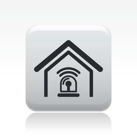 security icon: Vector illustration of single isolated home alarm icon