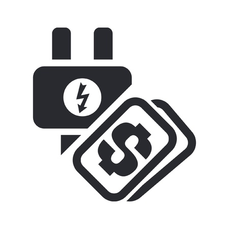 Vector illustration of single isolated icon depicting a energy cost concept Vector