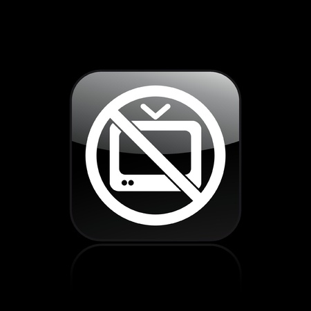 televised: Vector illustration of single isolated icon depicting a tv forbidden