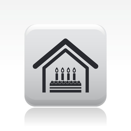 Vector illustration of birthday home celebration single isolated icon