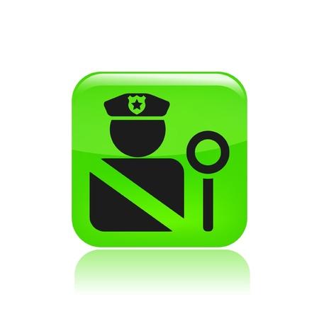 blocco stradale: Illustrazione vettoriale di icona concetto di posto di blocco singolo ed isolato