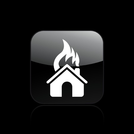 Vector illustration of house burning single isolated icon Stock Vector - 12121960