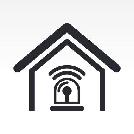 Vector illustration de la maison seule icône d'alarme isolé Vecteurs