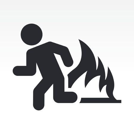 fleeing: Vector illustration of single isolated security exit icon