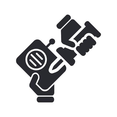 reparations: Ilustraci�n vectorial de un solo icono aislado reparaci�n de radios Vectores