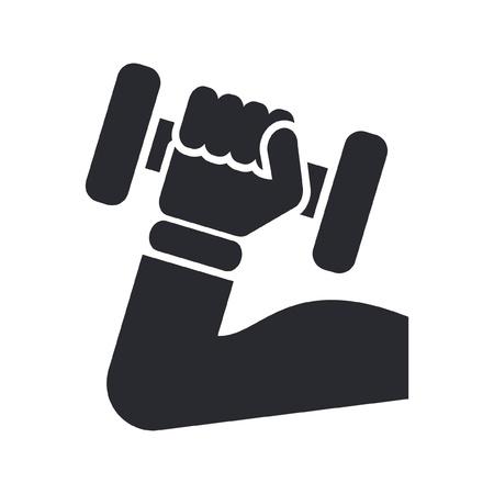 muscle training: Ilustraci�n vectorial de un solo �cono gimnasio aislado Vectores