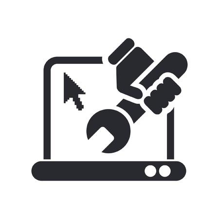 laptop repair: Ilustraci�n vectorial de un solo icono aislado de reparaci�n de pc Vectores