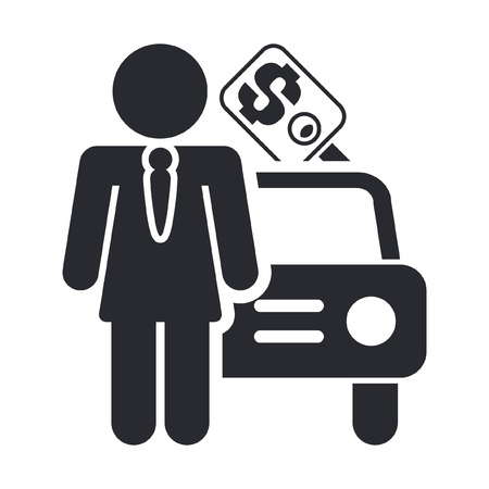 Vector illustration of single isolated sale car icon Illustration