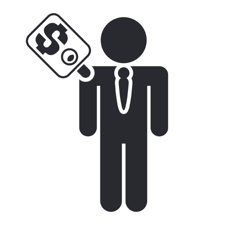 corrupted: Vector illustration of single isolated man sold icon