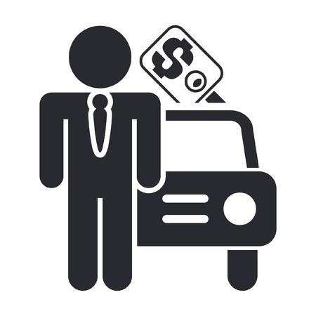 Vector illustratie van enkele geïsoleerde auto verkoop pictogram