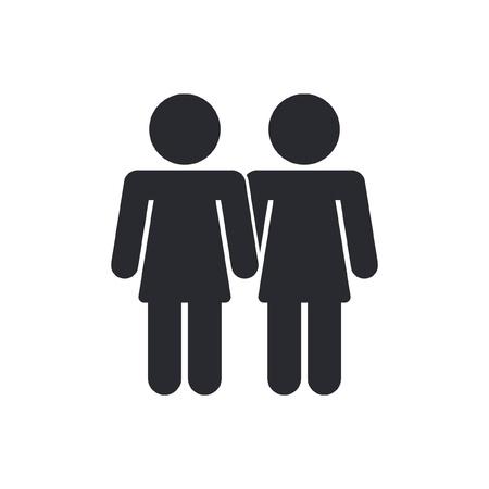 lesbian: Vector illustration de l'ic�ne lesbienne isol�