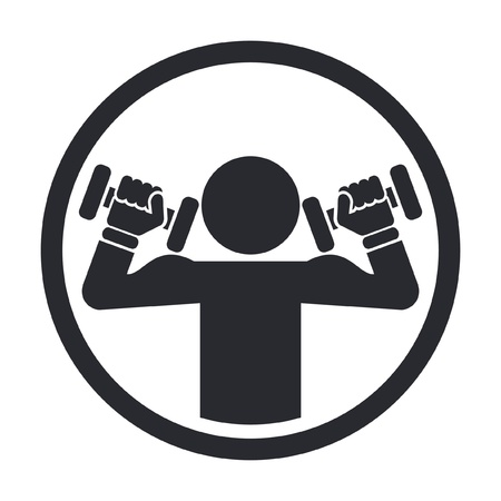 масса: Векторная иллюстрация одной изолированной значок тренажерный зал