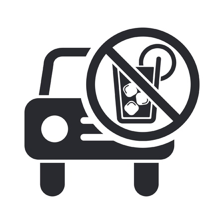 Vector illustration of single isolated drunk drive icon