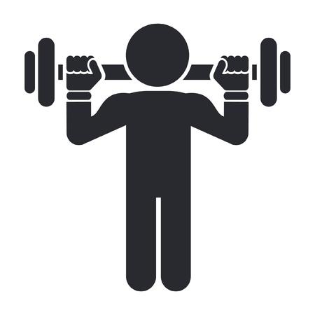 levantamiento de pesas: Ilustraci�n vectorial de un solo �cono gimnasio aislado Vectores