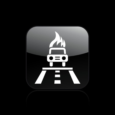 Vector illustration of single isolated car burning icon Stock Vector - 12122207