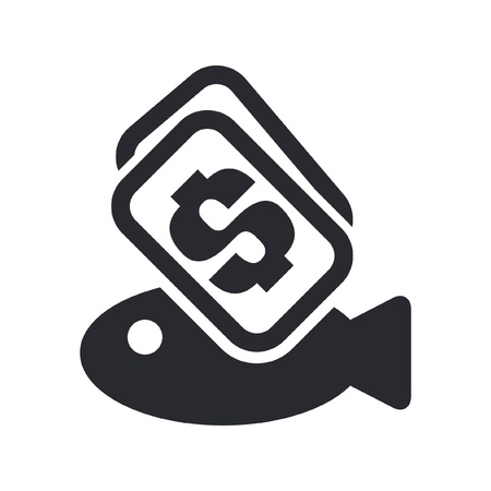 Vector illustration of single isolated fish price icon