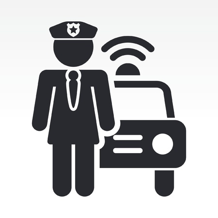 blocco stradale: Illustrazione vettoriale di singola icona isolato ragazza polizia