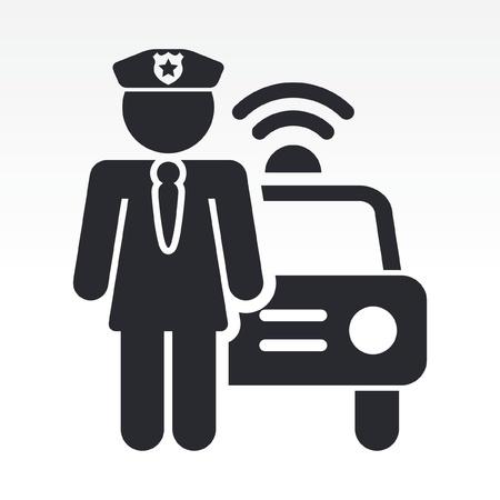 patrol cop: Ilustraci�n vectorial de un solo icono aislado ni�a de la polic�a