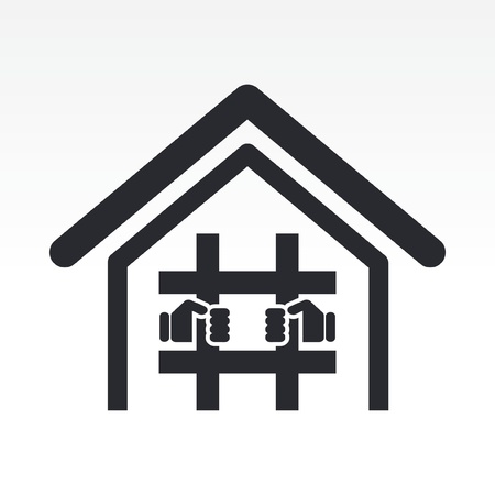 imprisoned: Vector illustration of single isolated prison icon Illustration