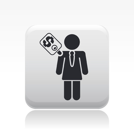 corrupted: Vector illustration of single isolated worker price icon