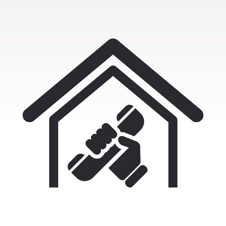 Vector illustratie van enkele geïsoleerde huistelefoon pictogram