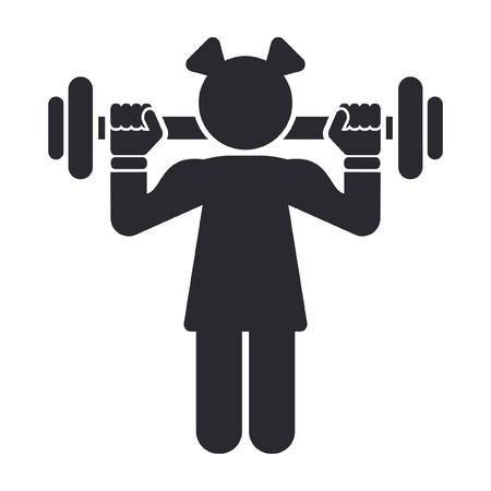 levantamiento de pesas: Ilustración vectorial de un solo icono de gimnasia femenina aislado
