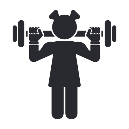 weightlifting: Vector illustration of single isolated female gym icon