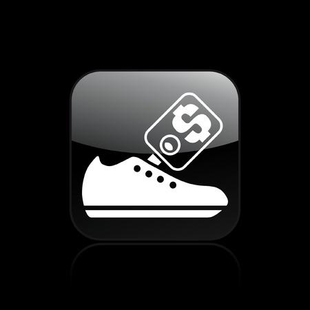 shoe sale: Ilustraci�n vectorial de un solo icono aislado venta de zapatos Vectores