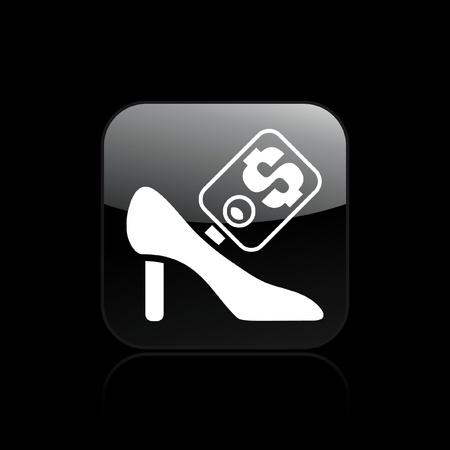 shoe sale: Ilustraci�n vectorial de un solo aislado icono femenino venta de zapatos Vectores
