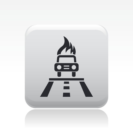 Vector illustration of single isolated car burning icon Stock Vector - 12119729