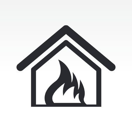 Vector illustration of single isolated burning home icon Stock Vector - 12117389