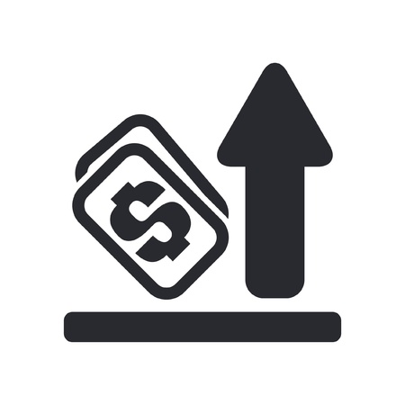 Vector illustration of single isolated increase money icon