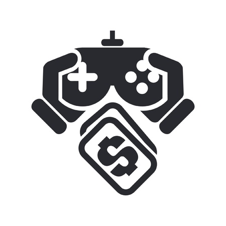 playing video games: Vector illustration of single isolated videogame price icon Illustration