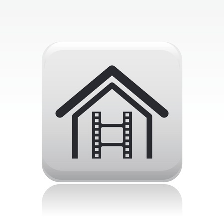 Vector illustration of single isolated home video icon