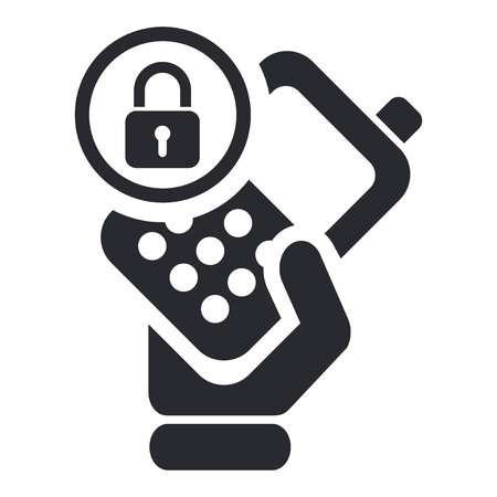 credentials: Vector illustration of single isolated lock phone icon