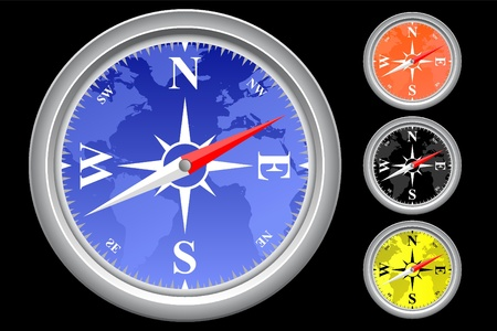 coordinates: Vector illustration of single isolated compass icon