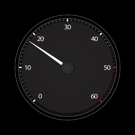 rev counter: Vector illustration of single isolated tachometer icon
