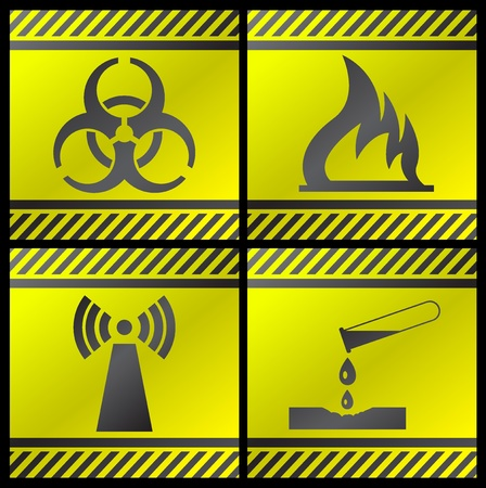 Vector illustration of single isolated danger industry icons Vector