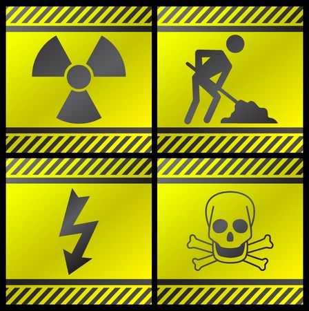 biological hazards: Vector illustration of single isolated danger industry icons