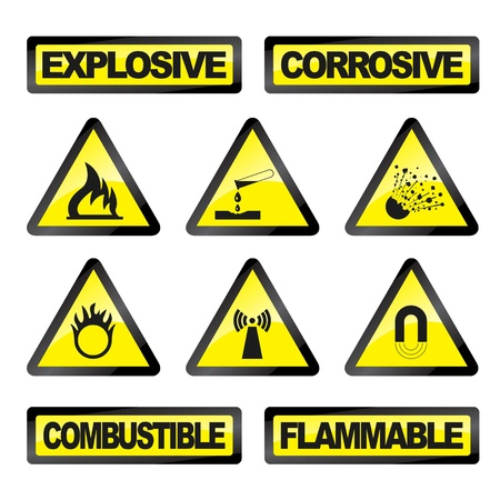 radioattivo: Illustrazione vettoriale di icone pericolo singoli, industria,