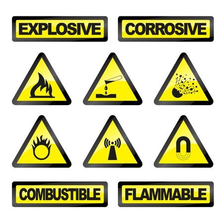 Ilustración vectorial de simples iconos aislados peligro la industria