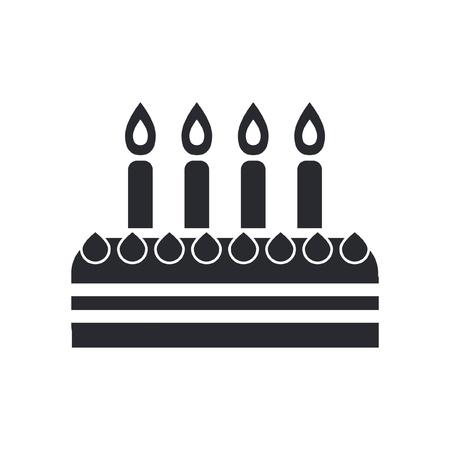 torta candeline: Illustrazione vettoriale di singola icona isolato torta di compleanno Vettoriali