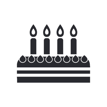 Vector illustration of single isolated birthday cake icon  Illustration