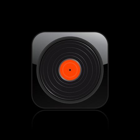 dee jay: Vector illustration of single isolated vinyl icon  Illustration