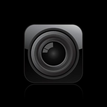 Vector illustration de seule icône de la caméra optique isolée Vecteurs
