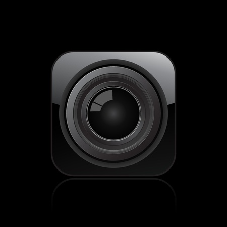 Vector illustration of single isolated camera lens icon  Vector